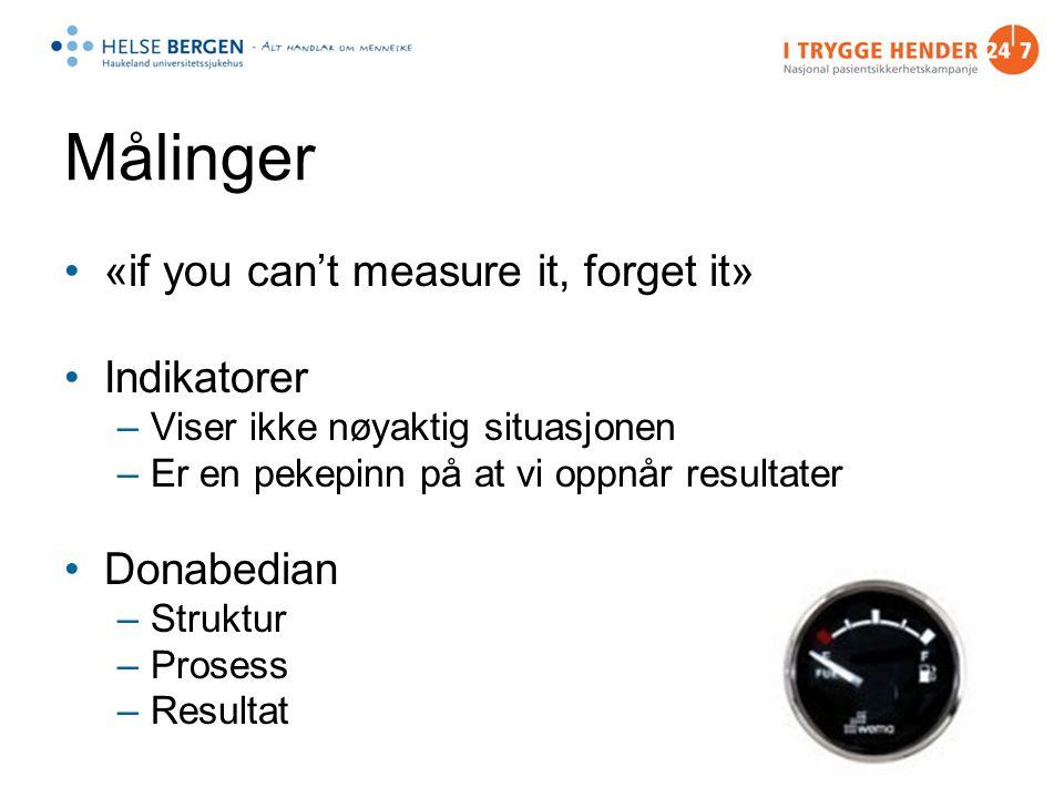 Målinger «if you can't measure it, forget it» Indikatorer –Viser ikke nøyaktig situasjonen –Er en pekepinn på at vi oppnår resultater Donabedian –Struktur –Prosess –Resultat