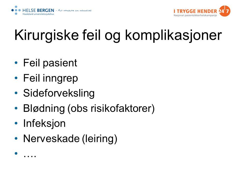 Kirurgiske feil og komplikasjoner Feil pasient Feil inngrep Sideforveksling Blødning (obs risikofaktorer) Infeksjon Nerveskade (leiring) ….