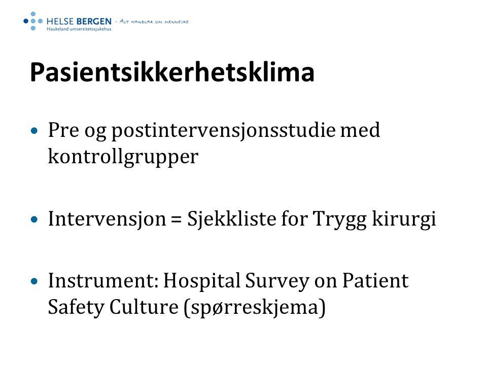 Pasientsikkerhetsklima Pre og postintervensjonsstudie med kontrollgrupper Intervensjon = Sjekkliste for Trygg kirurgi Instrument: Hospital Survey on P