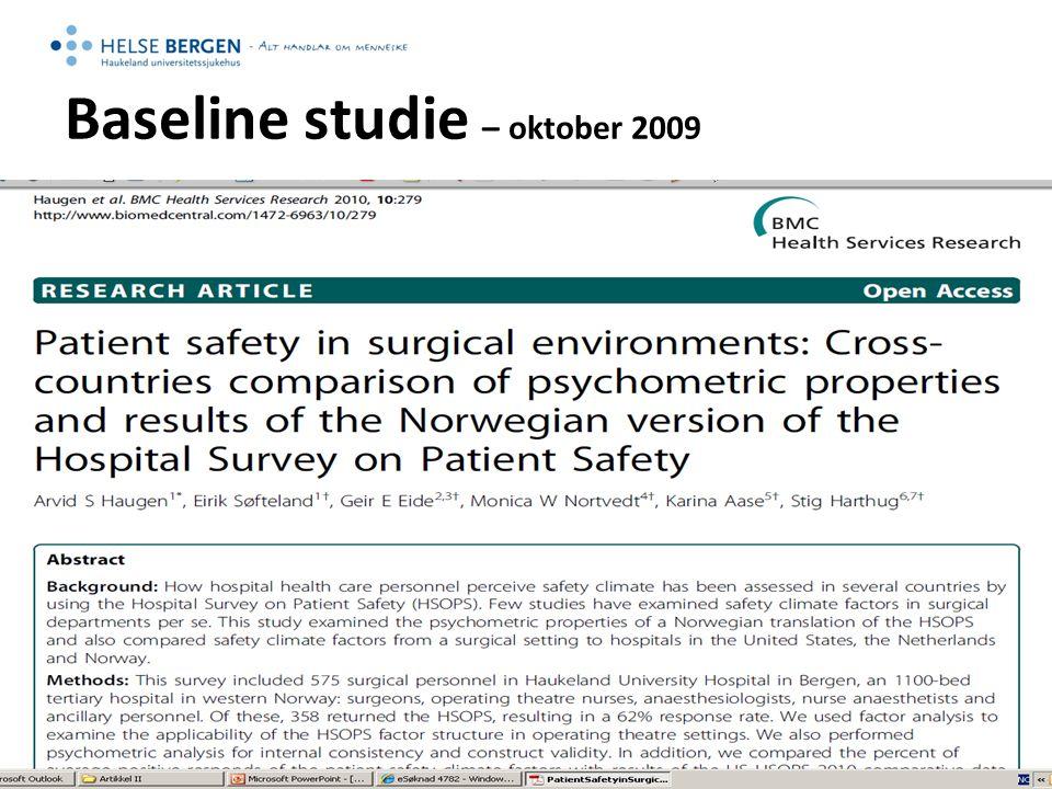 Baseline studie – oktober 2009