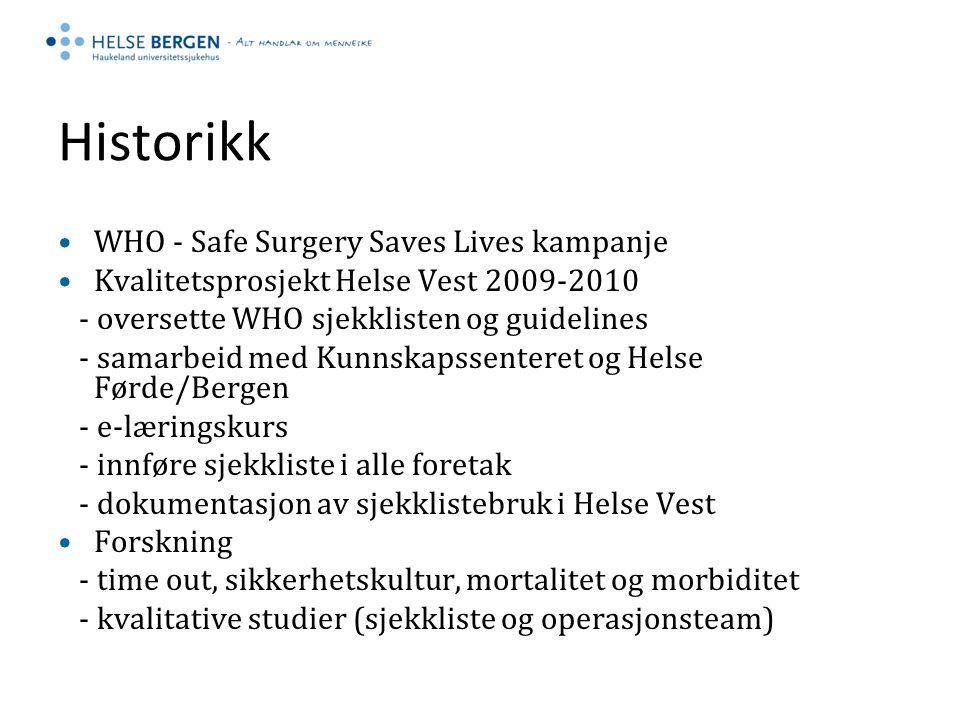 Historikk WHO - Safe Surgery Saves Lives kampanje Kvalitetsprosjekt Helse Vest 2009-2010 - oversette WHO sjekklisten og guidelines - samarbeid med Kun