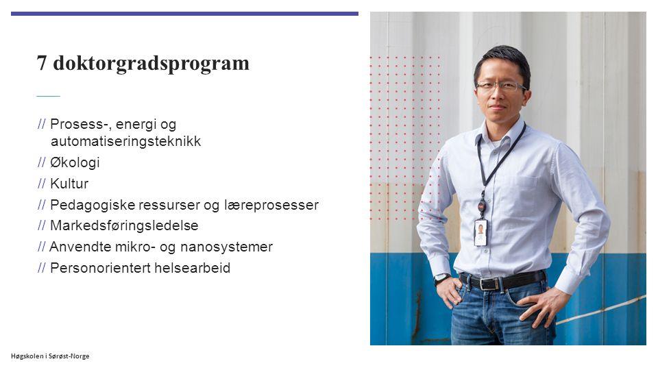 Høgskolen i Sørøst-Norge 7 doktorgradsprogram // Prosess-, energi og automatiseringsteknikk // Økologi // Kultur // Pedagogiske ressurser og læreprosesser // Markedsføringsledelse // Anvendte mikro- og nanosystemer // Personorientert helsearbeid
