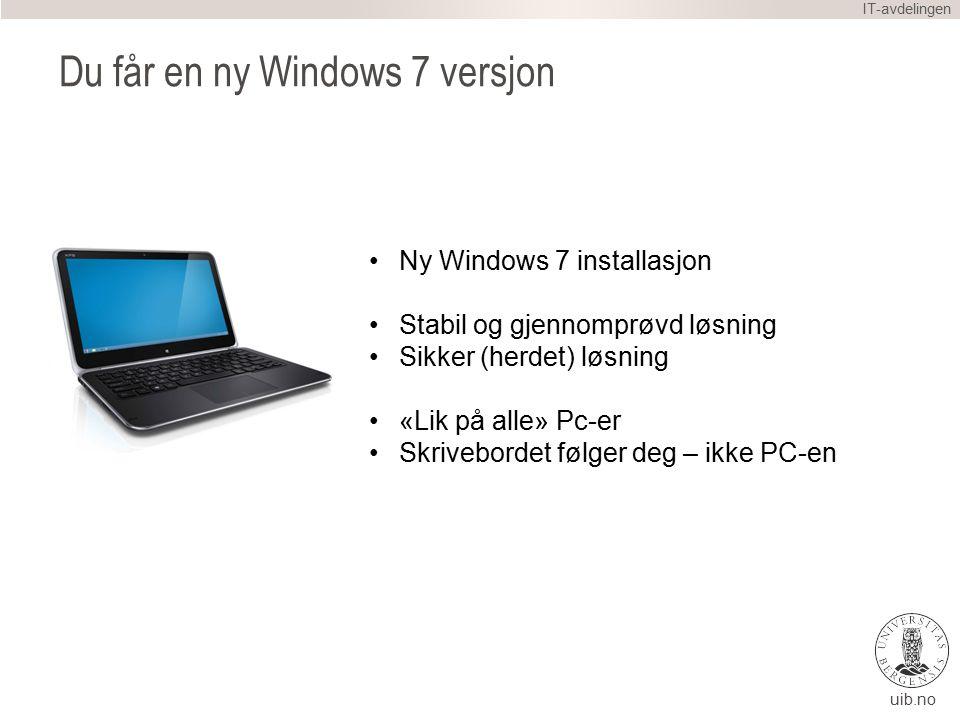 uib.no Hvordan gjør vi dette … IT-avdelingen Du låner en ferdig oppsatt PC Vi hjelper deg i gang på denne PC-en Vi overfører «KHiB hjemmekatalog» til UiB Vi tar med din «KHiB» PC til NG5 Full Backup av harddisken din Legger inn ny Windows (UiB versjonen) Du får Pc-en tilbake på kontoret ditt Du jobber videre … NÅ KAN VI HJELPE DEG