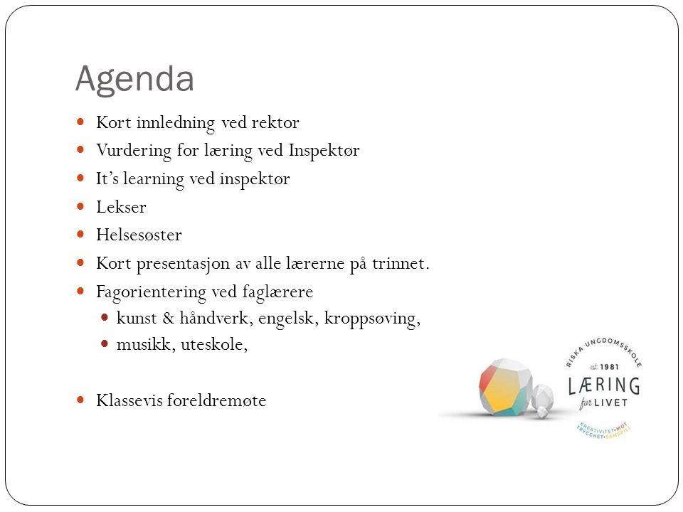 Agenda Kort innledning ved rektor Vurdering for læring ved Inspektør It's learning ved inspektør Lekser Helsesøster Kort presentasjon av alle lærerne på trinnet.