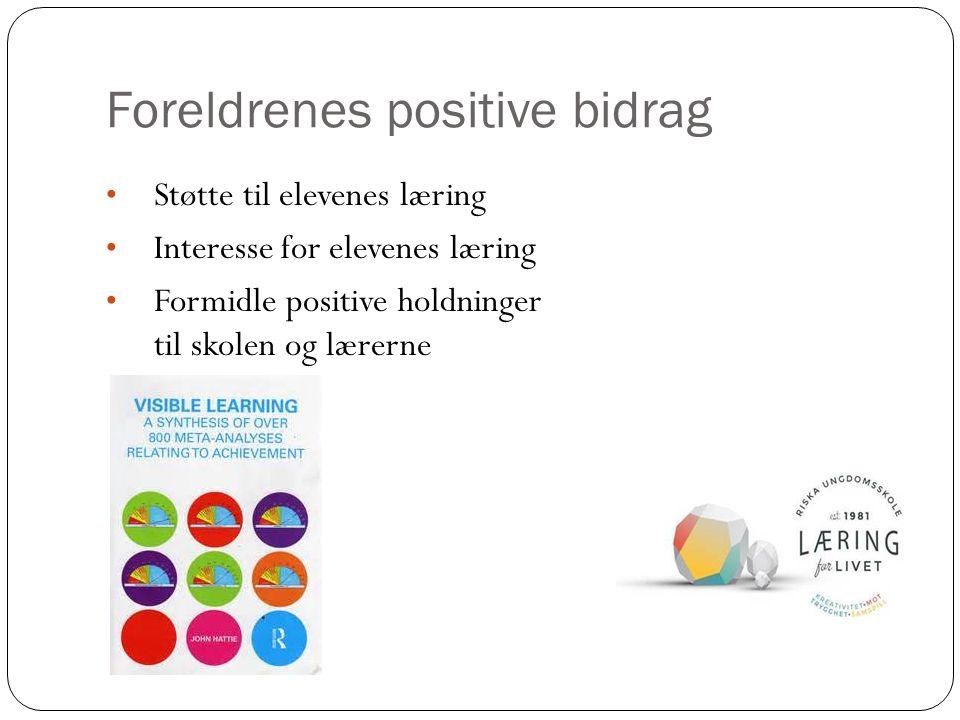 Foreldrenes positive bidrag Støtte til elevenes læring Interesse for elevenes læring Formidle positive holdninger til skolen og lærerne