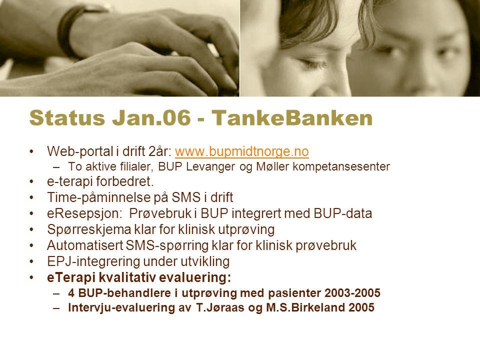 Status Jan.06 - TankeBanken Web-portal i drift 2år: www.bupmidtnorge.nowww.bupmidtnorge.no –To aktive filialer, BUP Levanger og Møller kompetansesenter e-terapi forbedret.