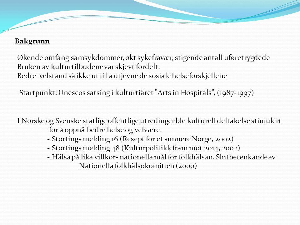 Bakgrunn I Norske og Svenske statlige offentlige utredinger ble kulturell deltakelse stimulert for å oppnå bedre helse og velvære.