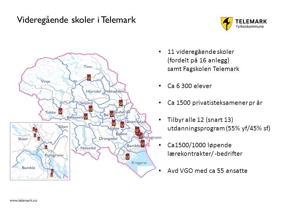 www.telemark.no Videregående skoler i Telemark 11 videregående skoler (fordelt på 16 anlegg) samt Fagskolen Telemark Ca 6 300 elever Ca 1500 privatisteksamener pr år Tilbyr alle 12 (snart 13) utdanningsprogram (55% yf/45% sf) Ca1500/1000 løpende lærekontrakter/ -bedrifter Avd VGO med ca 55 ansatte