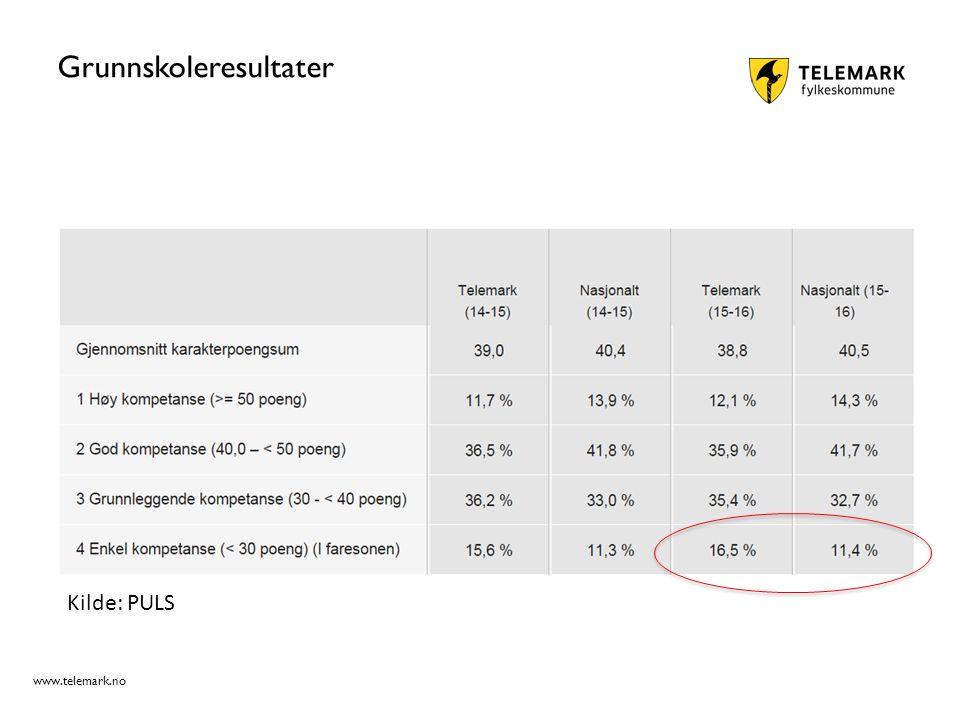 www.telemark.no Grunnskoleresultater Kilde: PULS