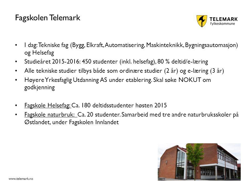 www.telemark.no Fagskolen Telemark I dag: Tekniske fag (Bygg, Elkraft, Automatisering, Maskinteknikk, Bygningsautomasjon) og Helsefag Studieåret 2015-2016: 450 studenter (inkl.
