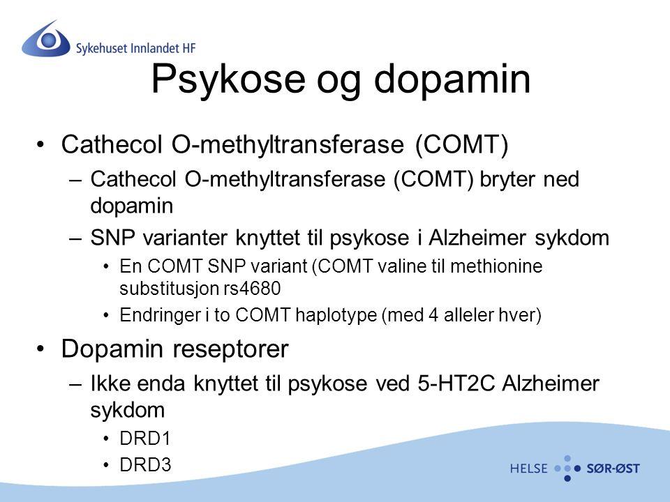 Psykose og dopamin Cathecol O-methyltransferase (COMT) –Cathecol O-methyltransferase (COMT) bryter ned dopamin –SNP varianter knyttet til psykose i Alzheimer sykdom En COMT SNP variant (COMT valine til methionine substitusjon rs4680 Endringer i to COMT haplotype (med 4 alleler hver) Dopamin reseptorer –Ikke enda knyttet til psykose ved 5-HT2C Alzheimer sykdom DRD1 DRD3