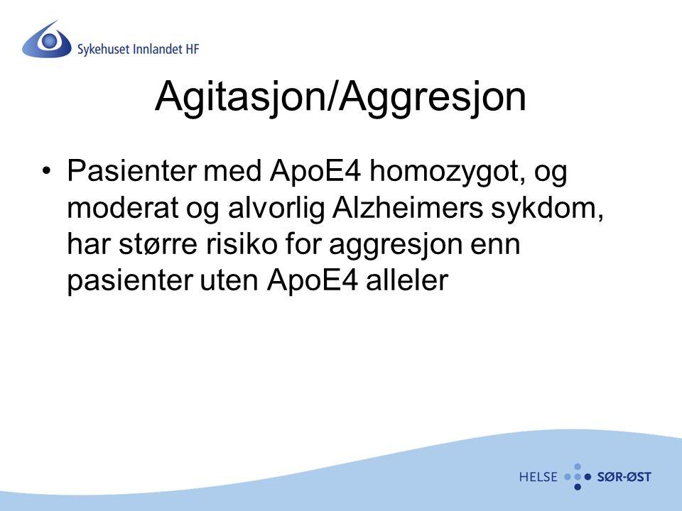 Agitasjon/Aggresjon Pasienter med ApoE4 homozygot, og moderat og alvorlig Alzheimers sykdom, har større risiko for aggresjon enn pasienter uten ApoE4 alleler