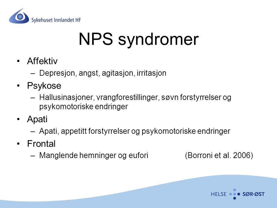 NPS syndromer Affektiv –Depresjon, angst, agitasjon, irritasjon Psykose –Hallusinasjoner, vrangforestillinger, søvn forstyrrelser og psykomotoriske endringer Apati –Apati, appetitt forstyrrelser og psykomotoriske endringer Frontal –Manglende hemninger og eufori (Borroni et al.