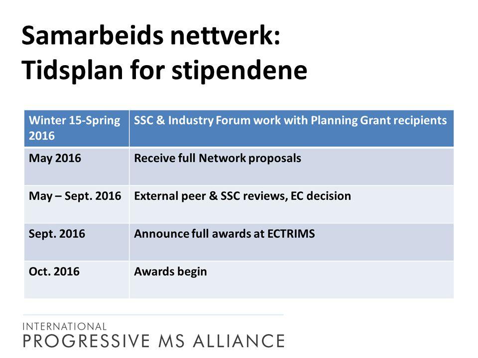 Samarbeids nettverk: Tidsplan for stipendene