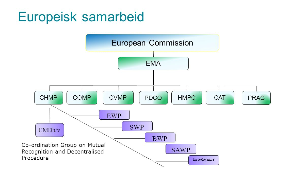 EMA European Commission COMPHMPCCHMPCVMP PDCO CAT BWP SWP EWP SAWP En rekke andre CMDh/v Co-ordination Group on Mutual Recognition and Decentralised P