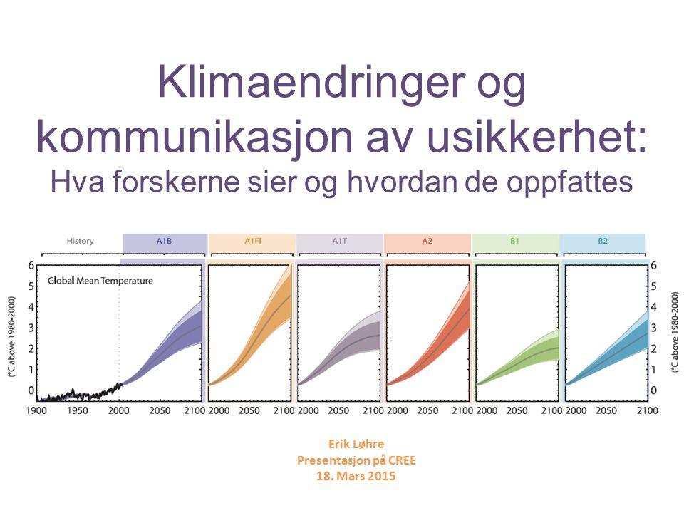 Klimaendringer og kommunikasjon av usikkerhet: Hva forskerne sier og hvordan de oppfattes Erik Løhre Presentasjon på CREE 18.