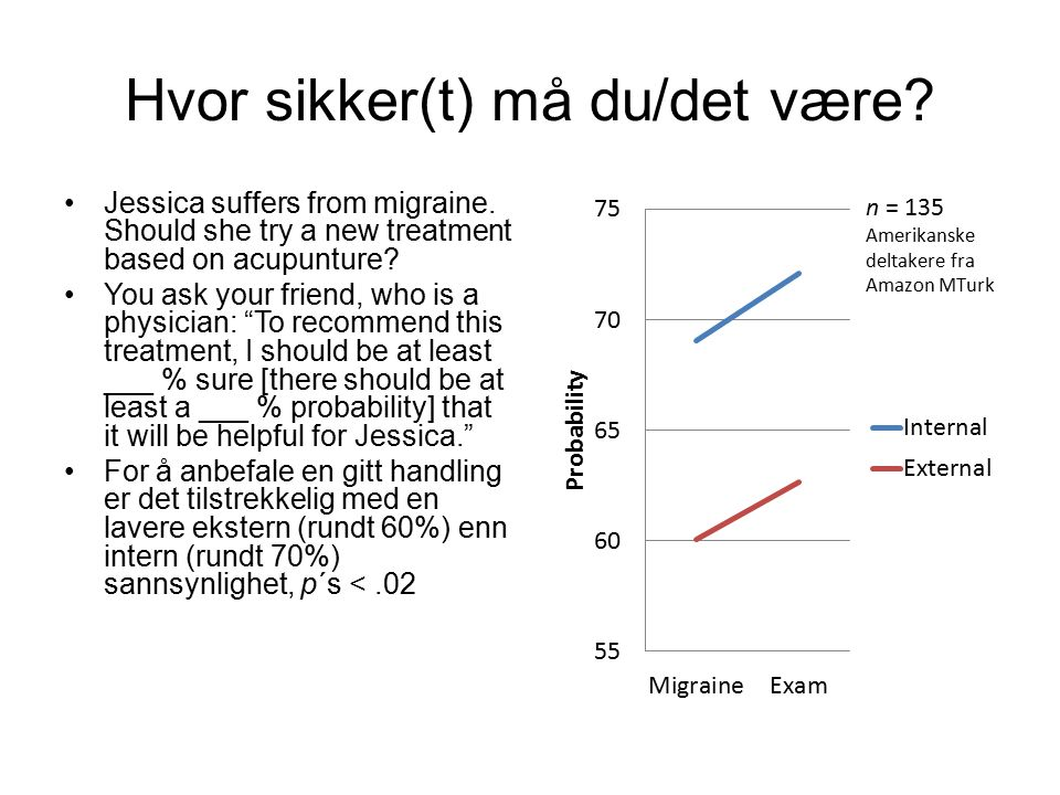 Hvor sikker(t) må du/det være? Jessica suffers from migraine. Should she try a new treatment based on acupunture? You ask your friend, who is a physic