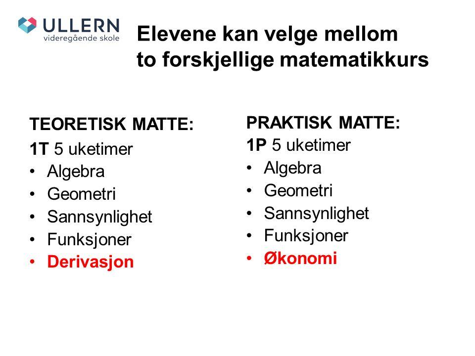 Elevene kan velge mellom to forskjellige matematikkurs TEORETISK MATTE: 1T 5 uketimer Algebra Geometri Sannsynlighet Funksjoner Derivasjon PRAKTISK MATTE: 1P 5 uketimer Algebra Geometri Sannsynlighet Funksjoner Økonomi