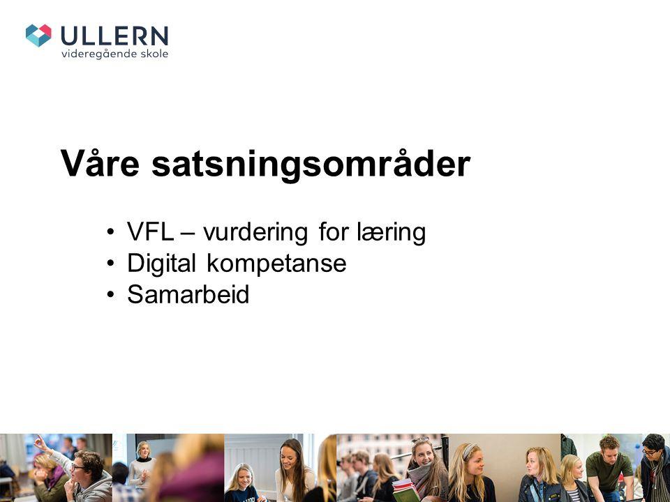 Våre satsningsområder VFL – vurdering for læring Digital kompetanse Samarbeid