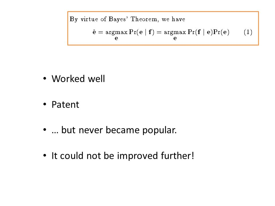 Worked well Patent … but never became popular. It could not be improved further!