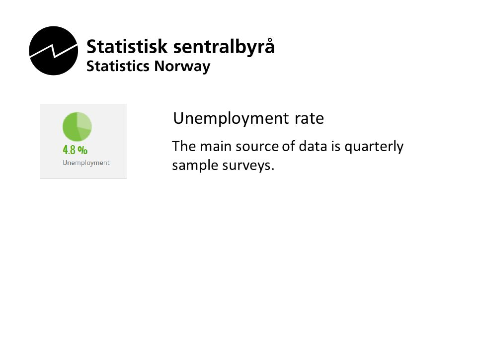 Unemployment rate The main source of data is quarterly sample surveys.