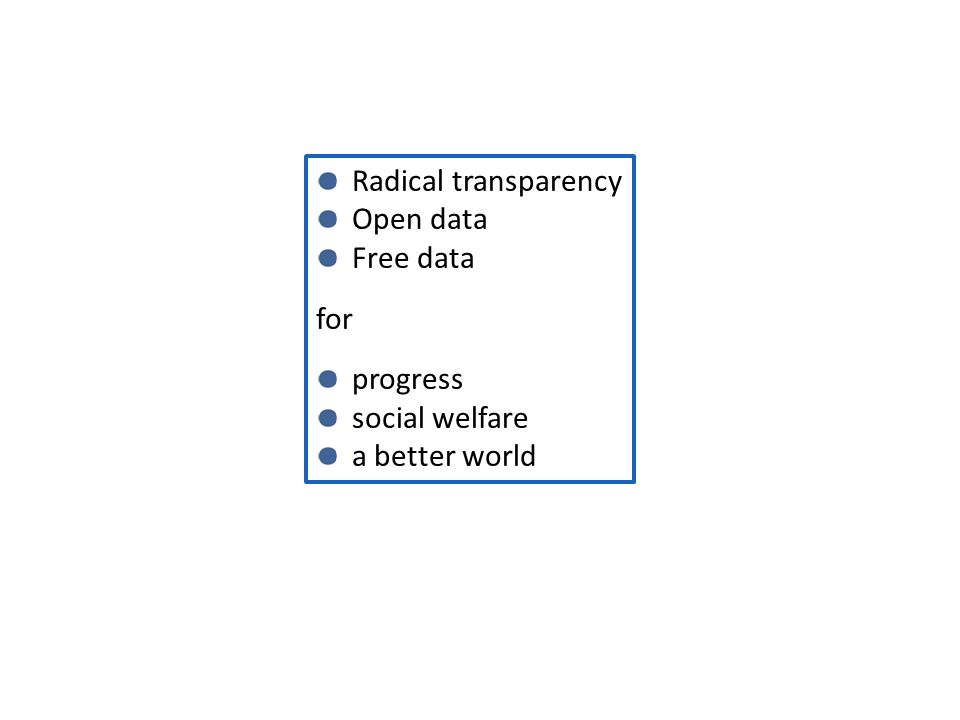 Radical transparency Open data Free data for progress social welfare a better world