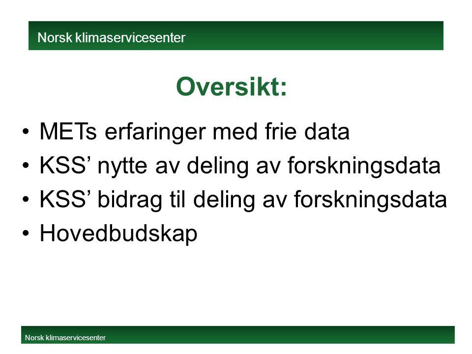 Oversikt: METs erfaringer med frie data KSS' nytte av deling av forskningsdata KSS' bidrag til deling av forskningsdata Hovedbudskap Norsk klimaservicesenter Norsk klimaservicesenter