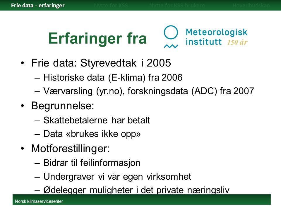 Erfaringer fra. Frie data: Styrevedtak i 2005 –Historiske data (E-klima) fra 2006 –Værvarsling (yr.no), forskningsdata (ADC) fra 2007 Begrunnelse: –Sk