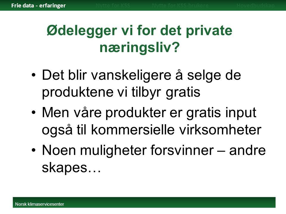 Ødelegger vi for det private næringsliv? Det blir vanskeligere å selge de produktene vi tilbyr gratis Men våre produkter er gratis input også til komm