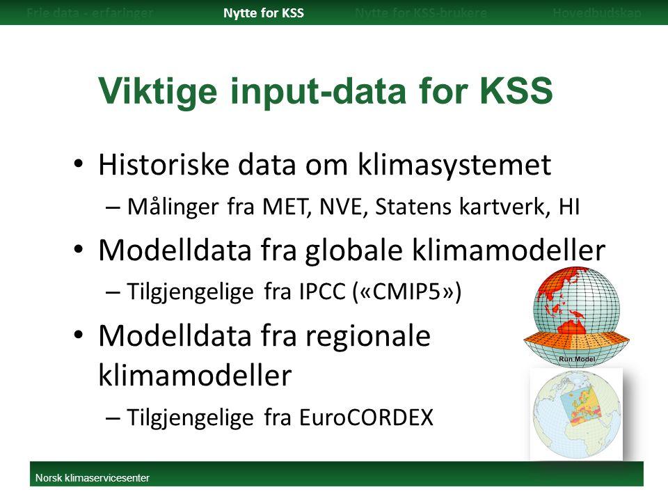 Viktige input-data for KSS Historiske data om klimasystemet – Målinger fra MET, NVE, Statens kartverk, HI Modelldata fra globale klimamodeller – Tilgjengelige fra IPCC («CMIP5») Modelldata fra regionale klimamodeller – Tilgjengelige fra EuroCORDEX Frie data - erfaringerNytte for KSSNytte for KSS-brukereHovedbudskap Norsk klimaservicesenter