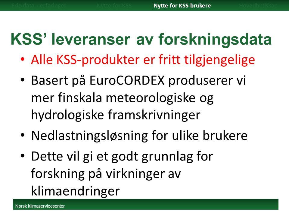 KSS' leveranser av forskningsdata Alle KSS-produkter er fritt tilgjengelige Basert på EuroCORDEX produserer vi mer finskala meteorologiske og hydrologiske framskrivninger Nedlastningsløsning for ulike brukere Dette vil gi et godt grunnlag for forskning på virkninger av klimaendringer Frie data - erfaringerNytte for KSSNytte for KSS-brukereHovedbudskap Norsk klimaservicesenter