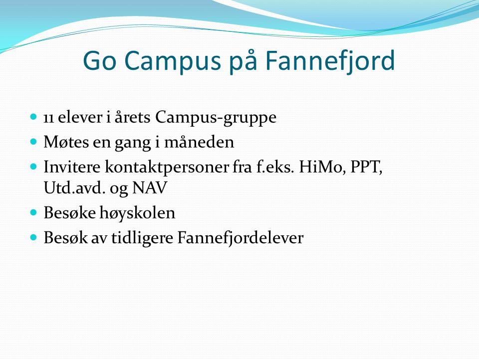 Go Campus på Fannefjord 11 elever i årets Campus-gruppe Møtes en gang i måneden Invitere kontaktpersoner fra f.eks. HiMo, PPT, Utd.avd. og NAV Besøke