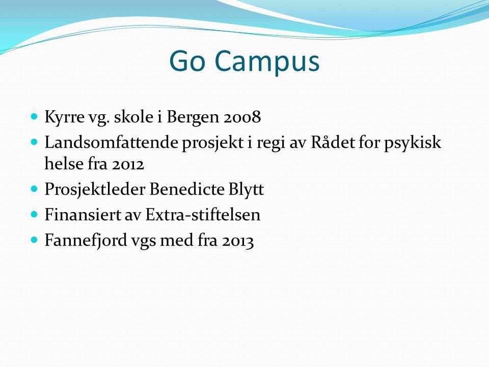 Go Campus Kyrre vg. skole i Bergen 2008 Landsomfattende prosjekt i regi av Rådet for psykisk helse fra 2012 Prosjektleder Benedicte Blytt Finansiert a