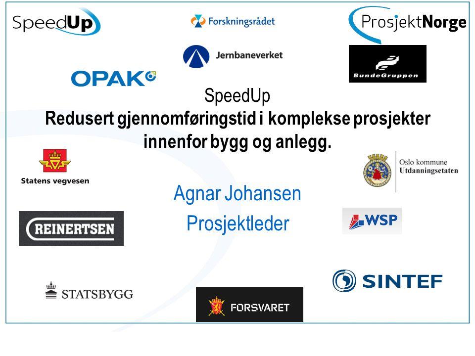 Ønsker dere å vite mer om SpeedUp se vår hjemmeside http://www.prosjektnorge.no/index.php?pageId=635 http://www.prosjektnorge.no/index.php?pageId=635 Lykke til med resten av dagen Agnar.Johansen@sintef.no 22