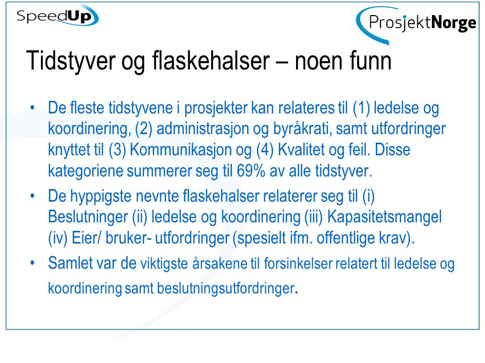 Publisering 2014 – 2015 (http://www.prosjektnorge.no/index.php?pageId=786)http://www.prosjektnorge.no/index.php?pageId=786 Publisert 2014-2015 Knowledge Transfer – a Means to Manage the Interplay Between Changes and Time-usage in Construction Projects SpeedUp - Hvordan få raskere og mer effektive prosjekter Managing cost and time in a large portfolio of projects Time-Thieves and Bottlenecks in the Norwegian Construction project Barriers and Challenges in Employing of Concurrent Engineering On The Need For Iterative Real Estate Projects Models - Applying Agile Methods In Real Estate Developments Evaluation and learning – Experiences from a construction project in Norway Why is it difficult to exploit opportunities in projects.