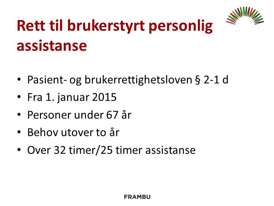 Rett til brukerstyrt personlig assistanse Pasient- og brukerrettighetsloven § 2-1 d Fra 1.