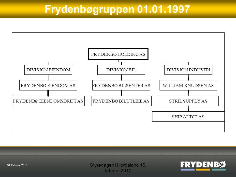 16. Februar 2010 Styredagen i Hordaland 16. februar 2010 13 Frydenbøgruppen 01.01.1997