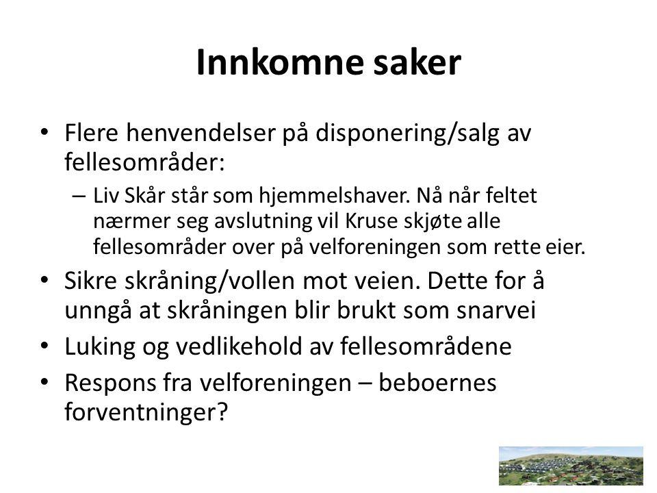 Innkomne saker Flere henvendelser på disponering/salg av fellesområder: – Liv Skår står som hjemmelshaver.