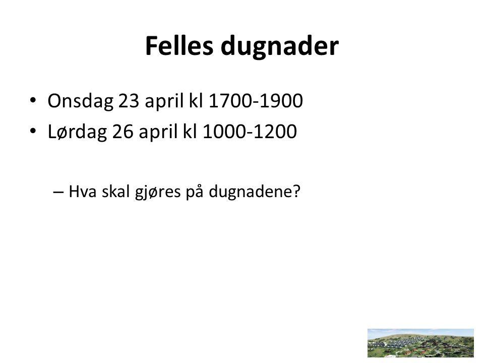 Felles dugnader Onsdag 23 april kl 1700-1900 Lørdag 26 april kl 1000-1200 – Hva skal gjøres på dugnadene?