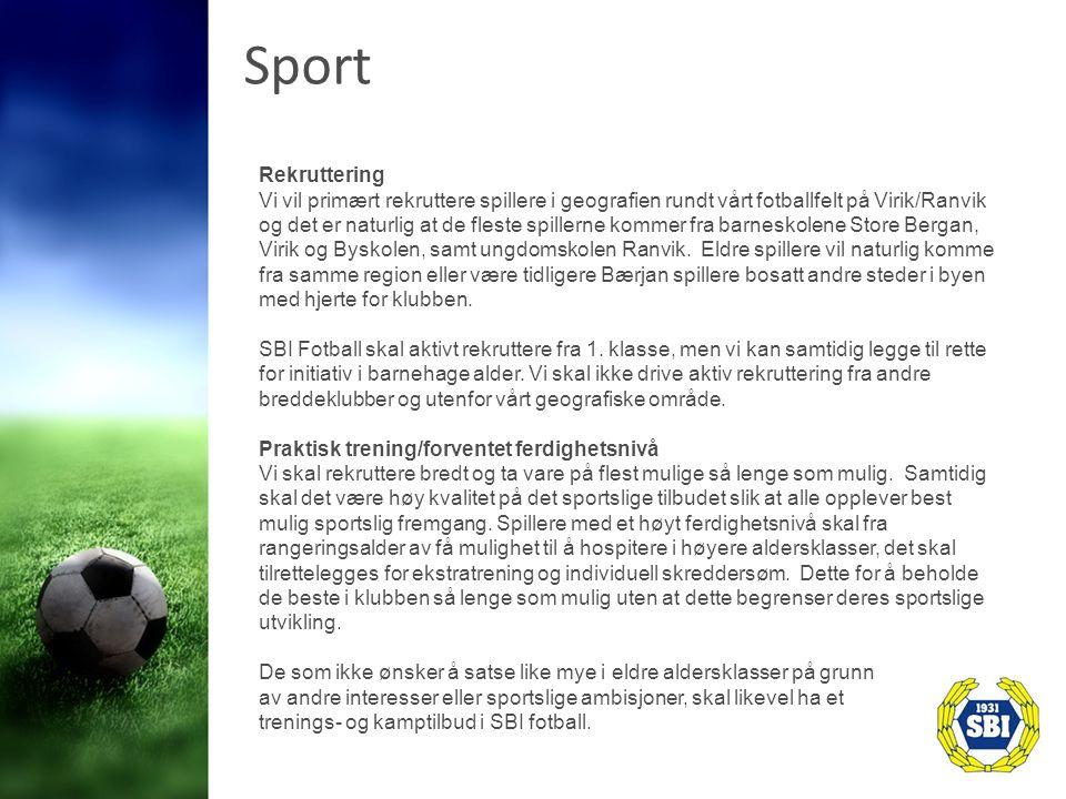 Sport Rekruttering Vi vil primært rekruttere spillere i geografien rundt vårt fotballfelt på Virik/Ranvik og det er naturlig at de fleste spillerne kommer fra barneskolene Store Bergan, Virik og Byskolen, samt ungdomskolen Ranvik.