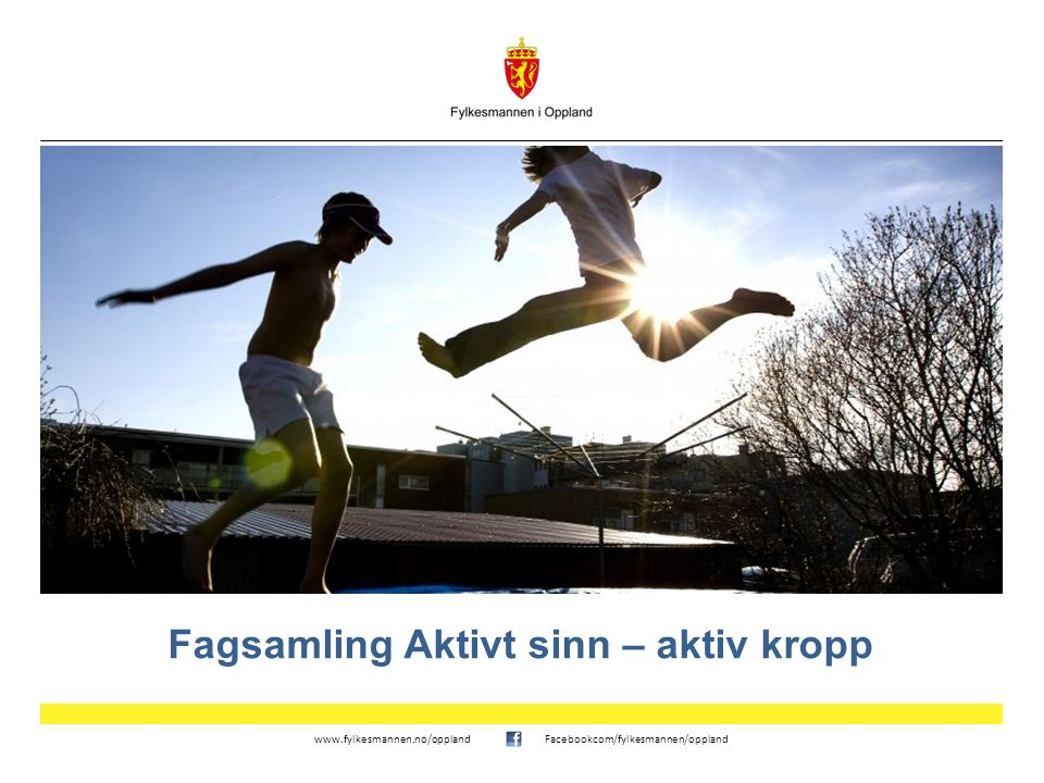 www.fylkesmannen.no/opplandFacebookcom/fylkesmannen/oppland Fagsamling Aktivt sinn – aktiv kropp