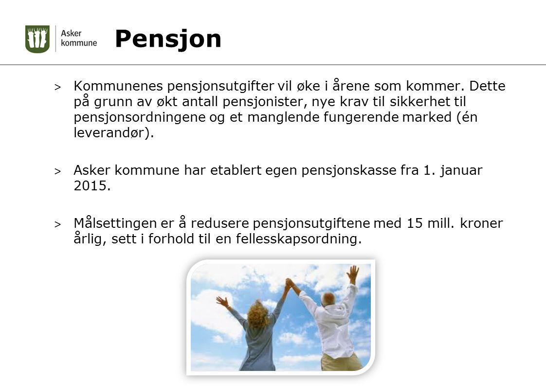 Pensjon > Kommunenes pensjonsutgifter vil øke i årene som kommer. Dette på grunn av økt antall pensjonister, nye krav til sikkerhet til pensjonsordnin