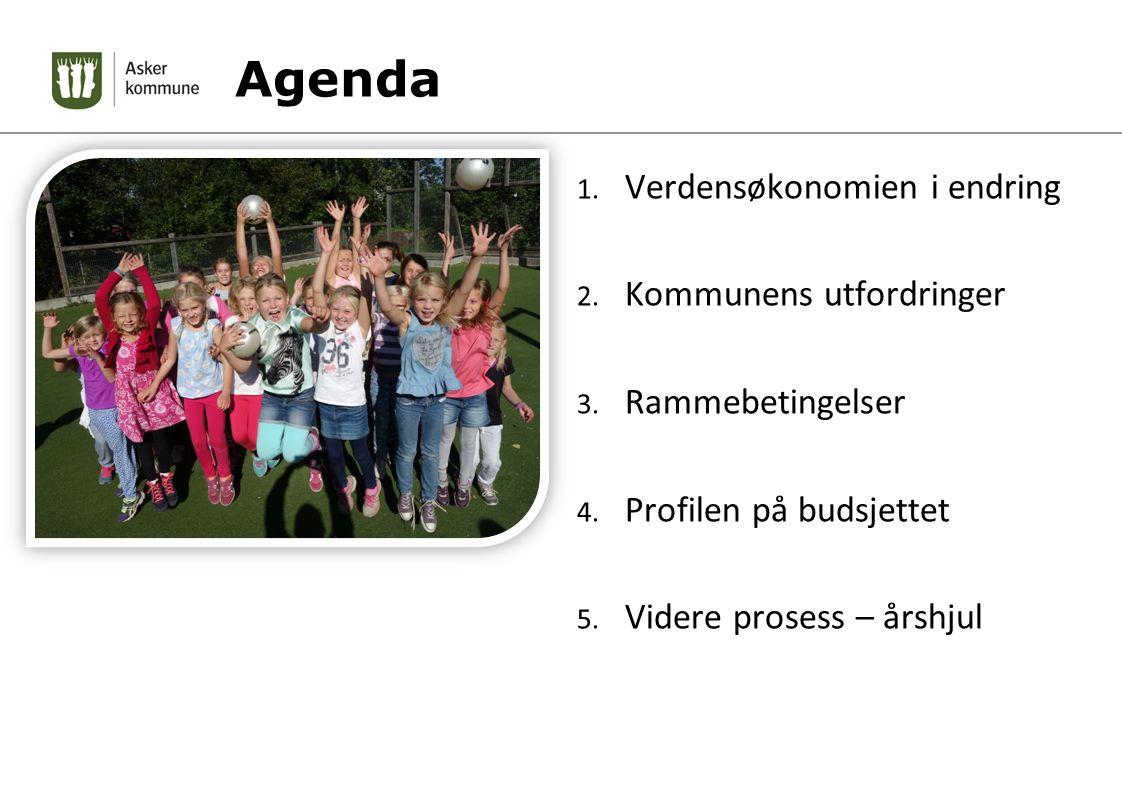 Agenda 1. Verdensøkonomien i endring 2. Kommunens utfordringer 3. Rammebetingelser 4. Profilen på budsjettet 5. Videre prosess – årshjul