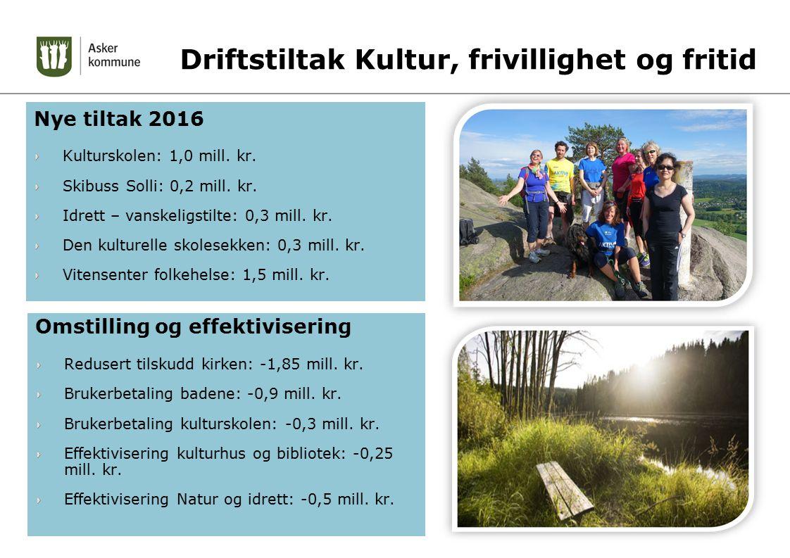 Driftstiltak Kultur, frivillighet og fritid Nye tiltak 2016 Kulturskolen: 1,0 mill. kr. Skibuss Solli: 0,2 mill. kr. Idrett – vanskeligstilte: 0,3 mil