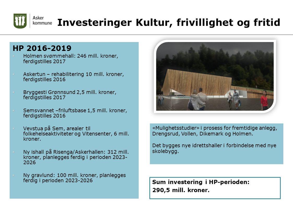 Investeringer Kultur, frivillighet og fritid HP 2016-2019 Holmen svømmehall: 246 mill. kroner, ferdigstilles 2017 Askertun – rehabilitering 10 mill. k