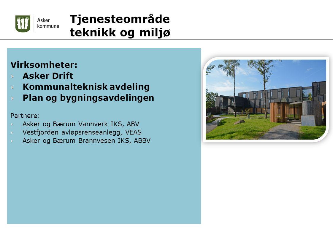 Tjenesteområde teknikk og miljø Virksomheter: Asker Drift Kommunalteknisk avdeling Plan og bygningsavdelingen Partnere: Asker og Bærum Vannverk IKS, A