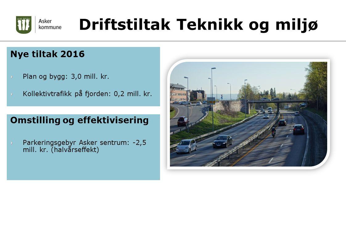 Driftstiltak Teknikk og miljø Nye tiltak 2016 Plan og bygg: 3,0 mill. kr. Kollektivtrafikk på fjorden: 0,2 mill. kr. Omstilling og effektivisering Par