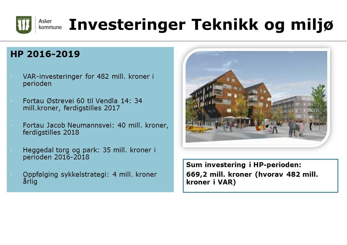 Investeringer Teknikk og miljø HP 2016-2019 VAR-investeringer for 482 mill. kroner i perioden Fortau Østrevei 60 til Vendla 14: 34 mill.kroner, ferdig