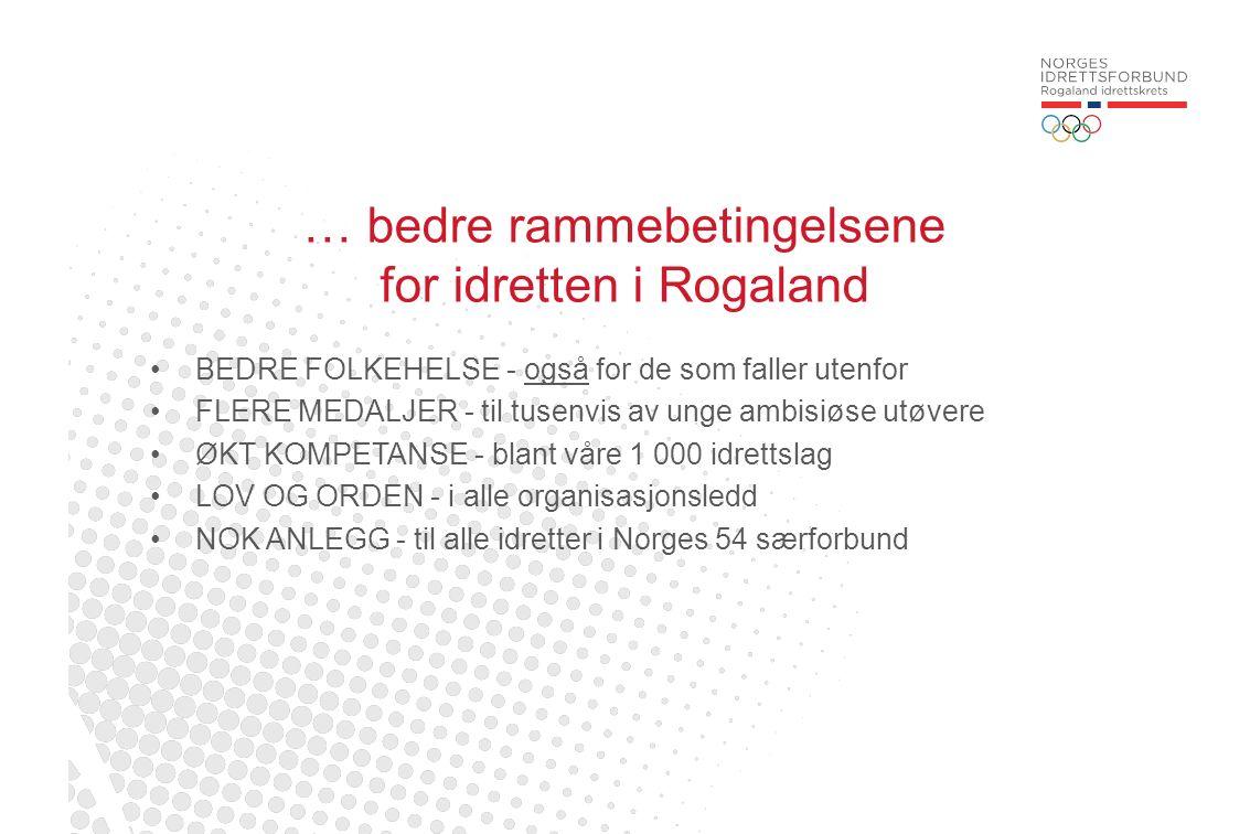 … bedre rammebetingelsene for idretten i Rogaland BEDRE FOLKEHELSE - også for de som faller utenfor FLERE MEDALJER - til tusenvis av unge ambisiøse ut