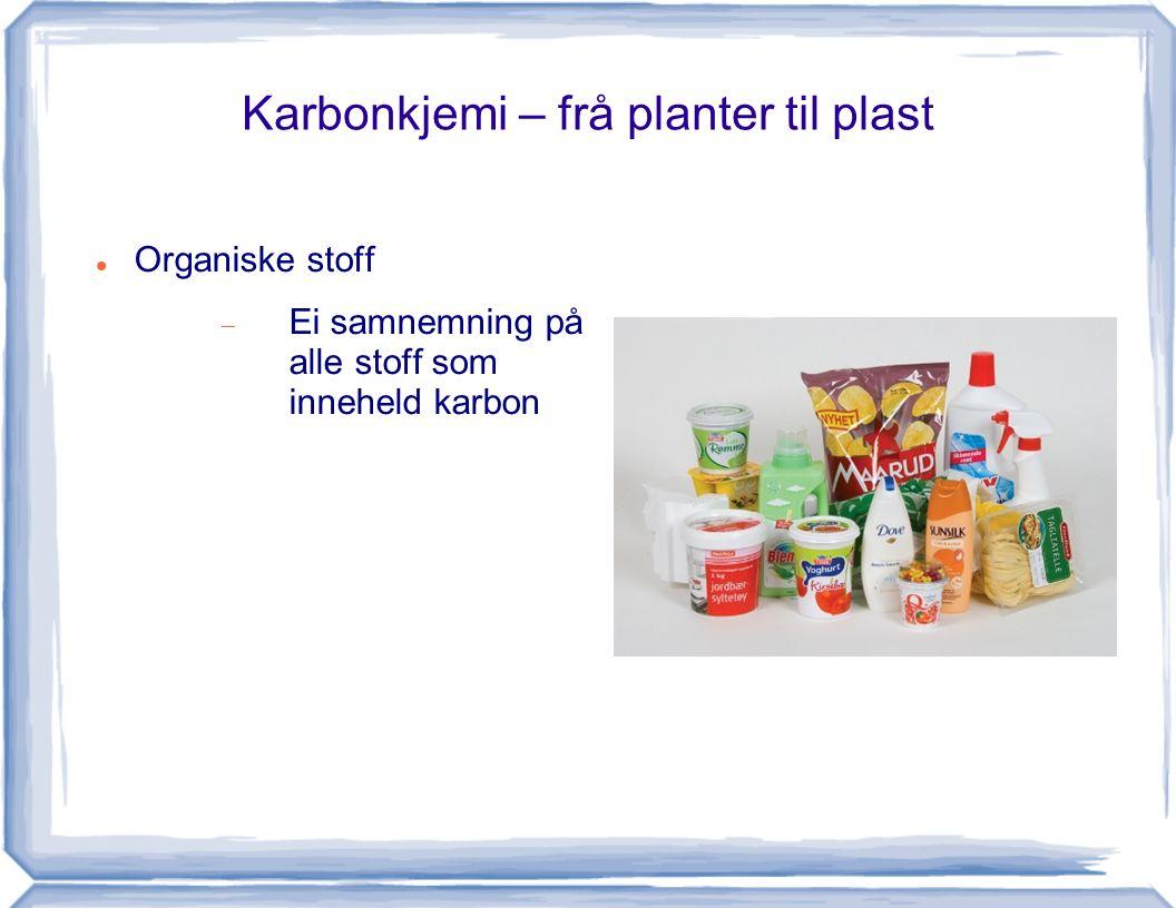 Karbonkjemi – frå planter til plast Organiske stoff  Ei samnemning på alle stoff som inneheld karbon